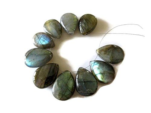 10 Pieces Labradorite Pear Shaped Briolette Beads, 15x20mm Beads, Labradorite Gemstone Beads, - Briolette Pear Gemstone Beads