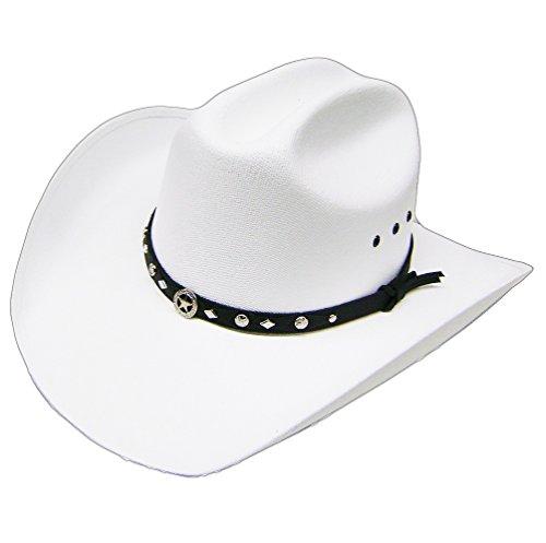 Modestone Unisex Traditional Straw Cowboy Hat White