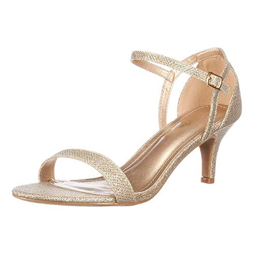 (DREAM PAIRS Women's LEXII Gold Glitter Fashion Stilettos Open Toe Pump Heel Sandals Size 6.5 B(M) US)