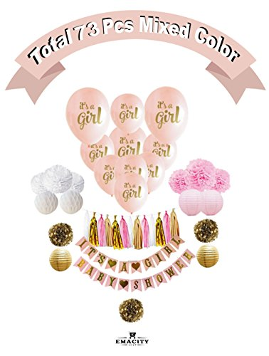 Baby Shower Decoration Pink and Gold | Full Set Including 10 Bonus Balloons| It's A Girl-Banner, Pom Poms, Lanterns Paper, Etc., For Birthday Parties ,Newborns| 0 - 18 Months | Gift Wrapping Available