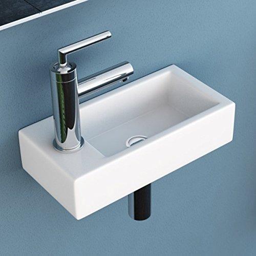 NEG Waschbecken Uno41H (extra klein/eckig/Armatur links) Hänge-Waschschale/Waschtisch (weiß) mit hohem Rand und Nano-Beschichtung