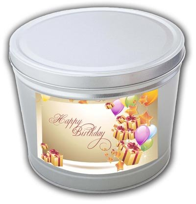 Birthday Popcorn Tin (Happy Birthday Gourmet Popcorn Tin - 2 Gallons, Traditional 3-Way Combo)