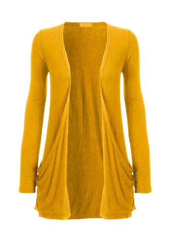 Hot Hanger Ladies Plus Size Pocket Long Sleeve Cardigan 16-26 (16-18 LXL, Mustard)