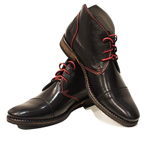 Modello Matamo - Handmade Italiano da Uomo in Pelle Nero Chukka Boots - Vacchetta Pelle Morbido - Allacciare