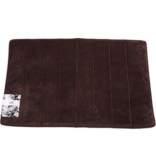 Hiwel Microfiber Bath Mat with Memory Foam Interior, Dark Chocolate, 21 by 34 Inch (Memory Foam Bath Mat Chocolate)