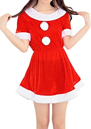 Womens 2pcs Christmas Round Neck Dance Dress Santa Costume Red (Harry Potter Themed Costumes)