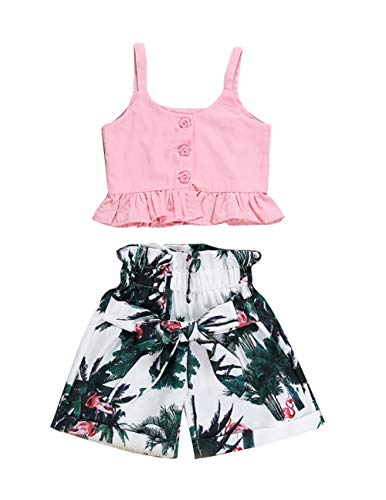 (VISGOGO Toddler Baby Girls Outfits Clothes Set Halter Crop Tops + Flamingo Short Pants (3T))