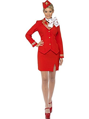 Smiffys Women's Trolley Dolly Costume with Jacket Skirt Scarf and Hat, Red, 1X ()