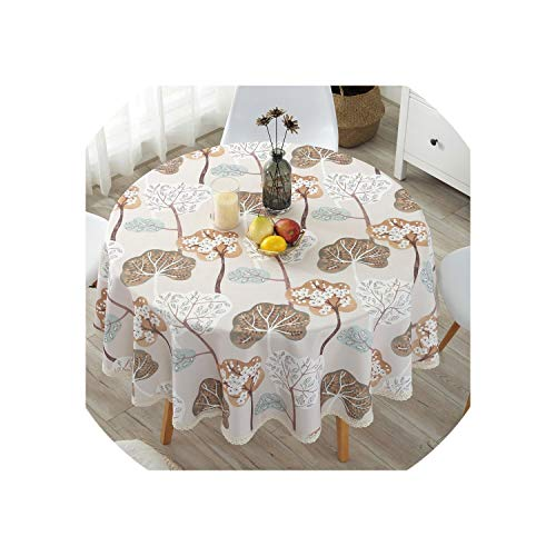 Pastoral PVC Round Table Cloth Waterproof Oilproof Floral Printed Lace Edge Plastic Table Covers Anti Hot Coffee Tablecloths,2,90x90cm -