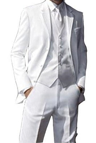 Lucky lover White Men Suit 3 Pieces Terno Masculino Slim Fit Tuxedos (M)