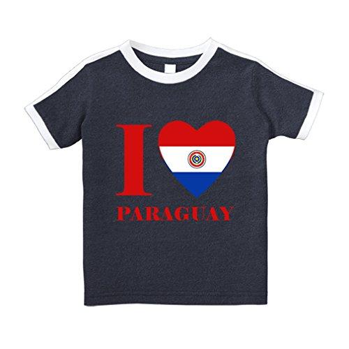 Paraguay Soccer T-shirt - I Love Paraguay Cotton Short Sleeve Crewneck Unisex Toddler T-Shirt Soccer Tee - Navy, 2T