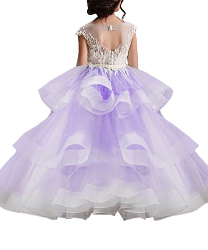 WDE Long Purple Little Girls Pageant Dresses For Wedding Kids First Communion Prom Ball Gown US4 - Long Ruffle Tiered Dress