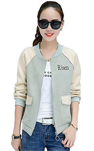 Donna Jacket Corto Eleganti Autunno Moda Stampate Maniche Lunghe Giacca Bomber Tempo Libero Relaxed Ragazze Cute Chic College Pilot Cappotto Blau
