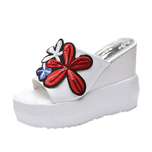 erthome Women Thick-Bottom Sloped Slippers Embroidered High-Heeled Wedges Platform Fish Mouth Shoes White 0BkBf3e