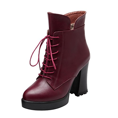 Latasa Womens Lace up Platform Block High Heels Ankle Oxford Boots Claret-red