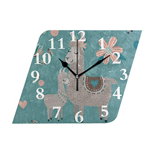 NMCEO Rhombus Wall Clock Alpaca Mother and Baby Flower Acrylic Original Clock for Home Decor ()