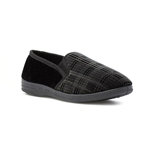 The Slipper Company Mens Checked Velour Slipper In Black - Size 10 UK/11 US - - Shops Uk Cheap In