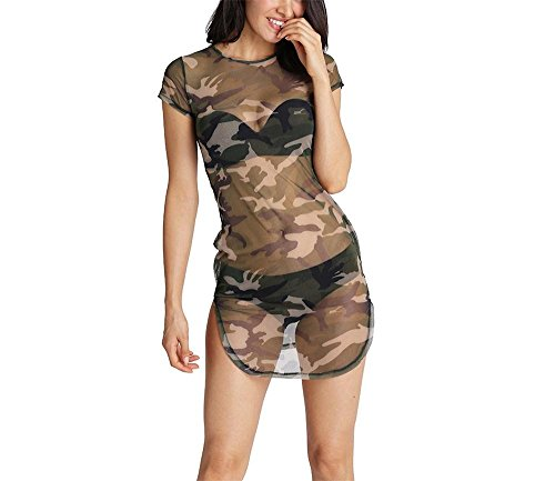 Rainnielove Womens Sexy Mesh Club Dress Short Sleeve See Through Sheer T Shirt Dress S Geen