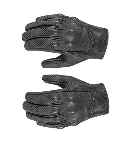 JahyShow Premium Men's Motorcycle Leather Perforated Cruiser Protective Gel Gloves M/X/XL (Stealth Motorcycle Leather)