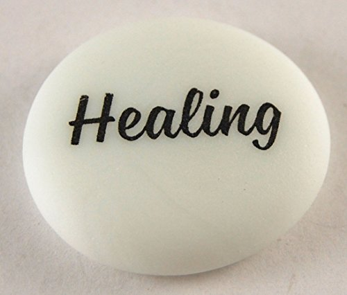 Frosted Imprinted Glass - Healing Brightly Colored Frosted Glass Imprinted Word Stones