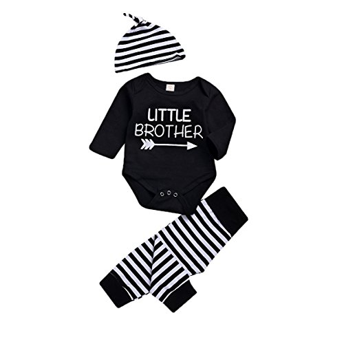 3Pcs Family Matching Newborn Infant Toddler Baby Boy Big Little Brother Print Romper T-Shirt+Stripe Pants+Hat Outfits Set (Black-Little Brother, 0-6 Months)