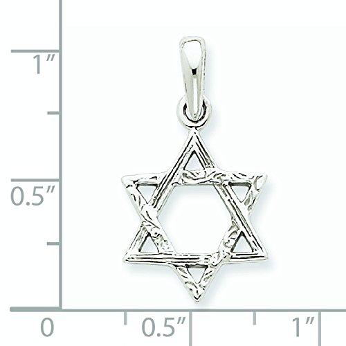 Or blanc 14 carats Pendentif Etoile de David-Dimensions :  16 x 14 mm-JewelryWeb