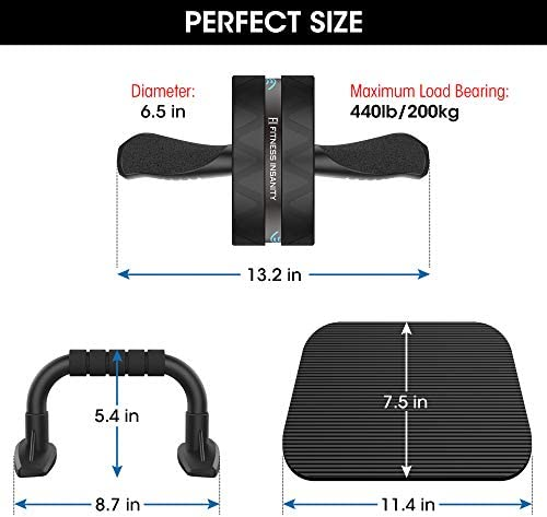 Ab Roller Wheel, 6-in-1 Ab Roller Kit with Knee Mat, Push-Up Bars, Resistance Bands, Workout Poster, Workout Guide, Perfect Home Gym Equipment for Men Women Abdominal Exercise