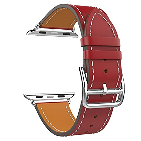 MoKo Band for Apple Watch Series 1 Series 2, Luxury Genuine Leather Smart Watch Band Strap Single Tour Replacement for 38mm Apple Watch 2015 & 2016 All Models, RED (Not Fit 42mm Versions)