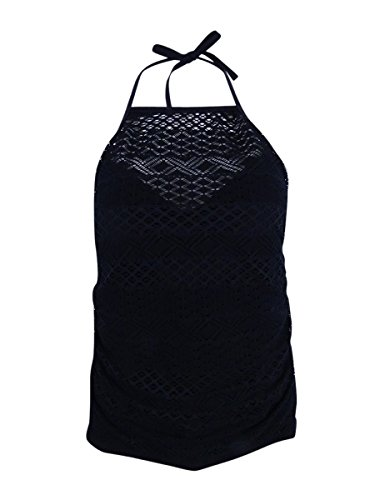 Island Escape Women's Sky High-Neck Crochet Tankini Top (Black, (Island Crochet)