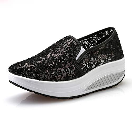Lace Mesh Platform Sneakers for Women Breathe Walking Slip-On Fitness Rocker Shoes (Black, US:6.0)