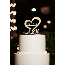 Personalized Wedding Cake Topper with Date Rustic Cake Toppers Initial Letter Cake Decoration by Kaishihui