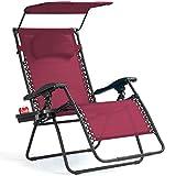 Goplus Folding Zero Gravity Lounge Chair Wide Recliner for Outdoor Beach Patio Pool w/Shade Canopy (Wine Zero Gravity Chair)