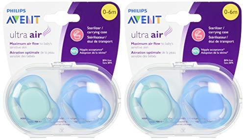 Philips AVENT Ultra Air Pacifier, 0-6 Months, Blue/Green, 4 Pack, SCF244/40