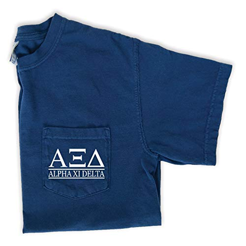 (Alpha Xi Delta Block Letters Pocket T-Shirt (Medium) Navy)