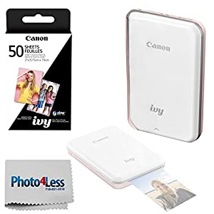 Canon IVY Mini Mobile Photo Printer + ZINK Zero Ink Printing Technology – Wireless/Bluetooth + Canon 2 x 3 ZINK Photo Paper Pack (50 Sheets) + Photo4Less Cleaning Cloth – Top Value Bundle