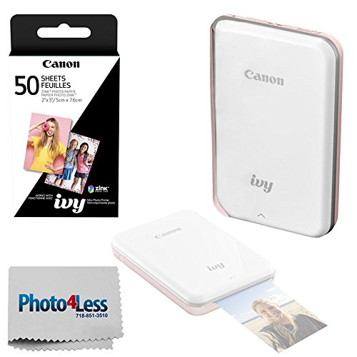 Canon Ivy Mini Mobile Photo Printer (Rose Gold) - Zink Zero Ink Printing Technology - Wireless/Bluetooth + Canon 2 x 3 Zink Photo Paper Pack (50 Sheets) + Photo4Less Cleaning Cloth - Deluxe Bundle
