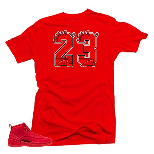 SNELOS Shirt to Match Jordan (Jordan 12 Bulls 23 Shirt (Red), M) ()