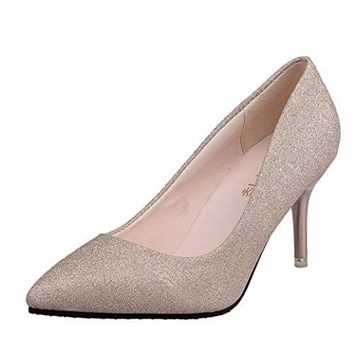 GanQuan2018 Women High Heel Pumps Pointed Toe Slip on Bling Stilettos Heels Leisure Dress Bridal Shoes