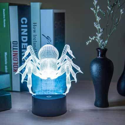 Geschenk des Nachtlichts 3d kreatives Licht der Nacht 3d führte Schreibtischlampe usb-Lampe romantisches Geburtstagsgeschenk 3d Stereosichtspinne sieben Farben
