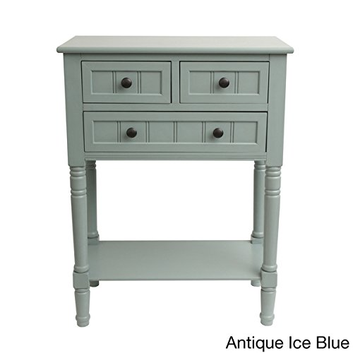 Simplify 3-drawer Classic Design 30″ Tall Console Table (antique iced blue) Review