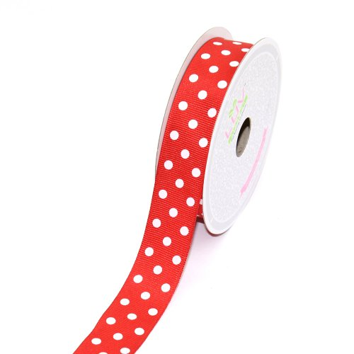 LUV RIBBONS 7/8-Inch Grosgrain White Polkadots Ribbon by Creative Ideas, 10-Yard Red