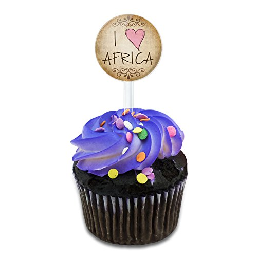 Africa Cake - I Heart Love Africa Vintage Cake Cupcake Toppers Picks Set