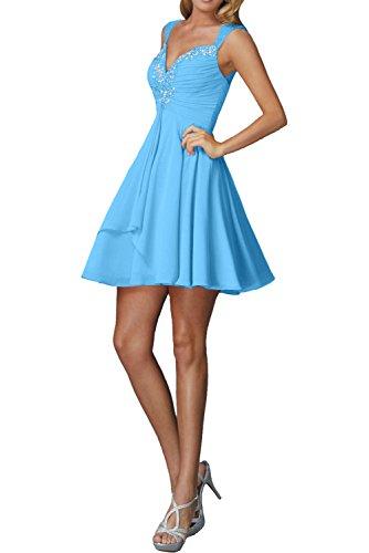 Kurzes Traeger Mini Braut Marie Ballkleider Cocktailkleider Chiffon Blau Damen Rock La Pfirsisch Abendkleider 0BZgwx