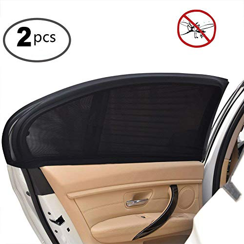 Side Window Baby Kid Pet Breathable Sun Shade Mesh Backseat (2 Pcs) Fits Most Small and Medium Cars ()