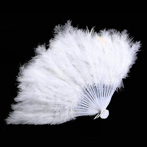 White Wedding Gift Burlesque Dance Fancy Costume Folding Feather Hand Fan by HandFan