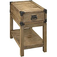 Treasure Trove Accents Carmel Burnished Natural Finish One Drawer Chair Side Table