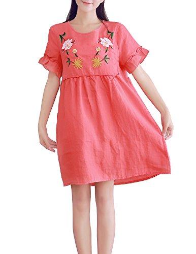 YUHEYUHE Women's Casual Loose Embroidered Flowers Summer Knee Length Midi Linen Dresses