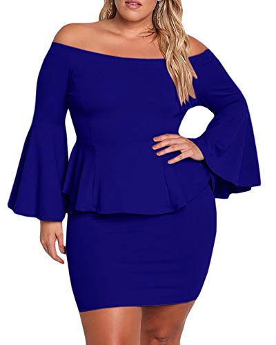 Yskkt Womens Plus Size Peplum Dresses Off The Shoulder Short Sleeve Bell Sleeve Ruched Bodycon Sexy Mini Party Dress Blue (Plus Size Club Dresses Size 3x)