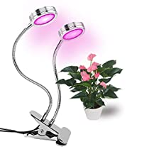 LED Grow Light 16W Dual-lamp Plant Lamp with 360 Degree Gooseneck for Indoor Plants by Lamaston