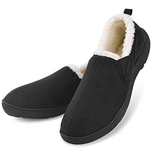 2d28248c9fa6 Men s Comfort Memory Foam Micro Suede Moccasin Slippers Winter Warm Wool-Like  Plush Fleece Lined